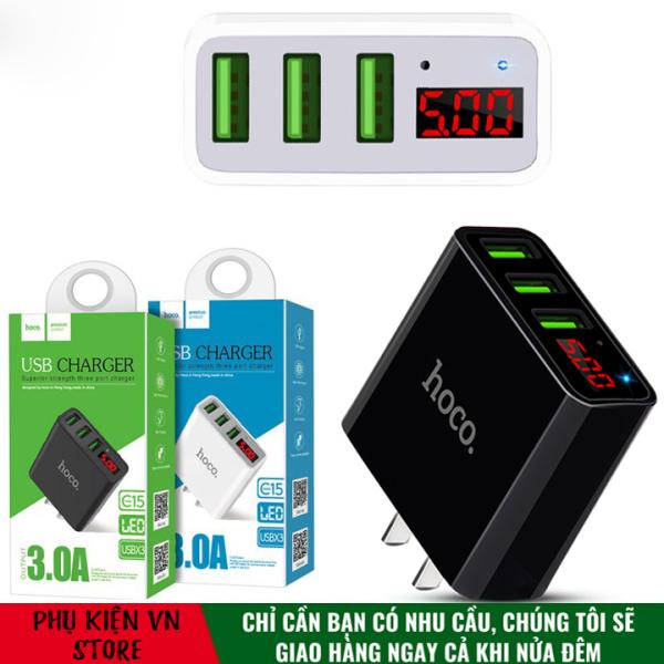 Cốc sạc 3 cổng Hoco C15 3A - màn hình LCD hiển thị điện áp