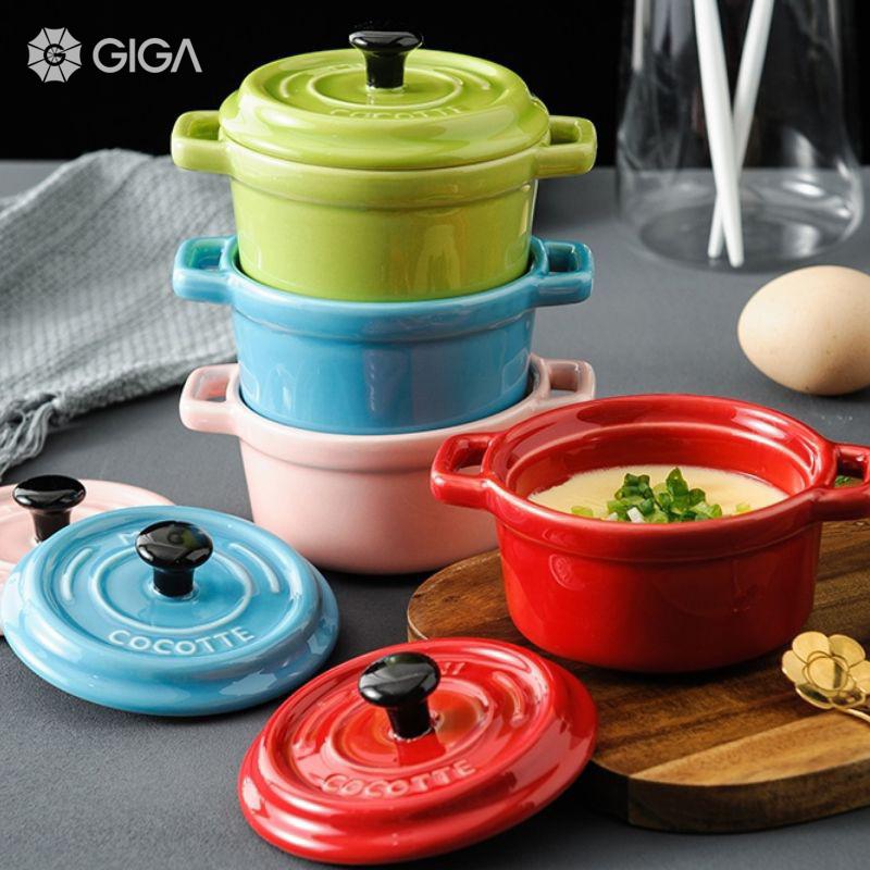 GIGA Essential Macaron gốm đôi tai nhỏ dễ thương cốc nhỏ có nắp/Đồ dùng nhà sáng tạo nồi/hấp trứng luộc tráng miệng nướng lò nướng