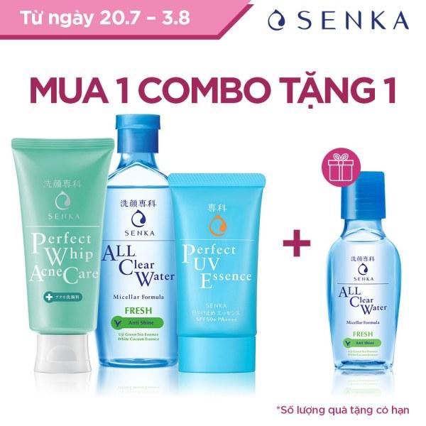 Bộ sản phẩm Senka làm sạch và chống nắng dành cho da mụn cao cấp