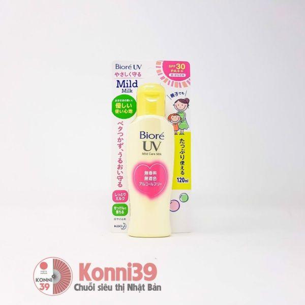 Kem chống nắng dạng sữa Biore UV Mild Care Milk SPF30PA++ 120ml