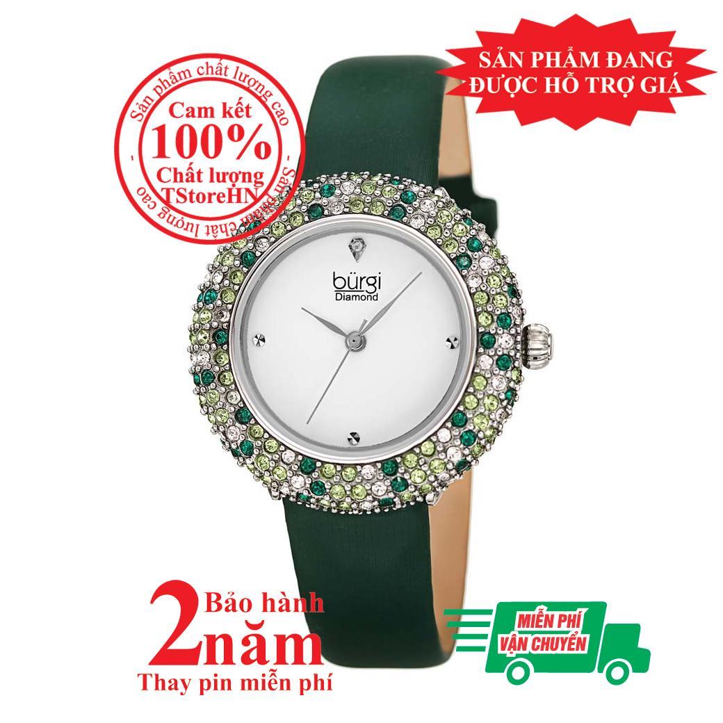 Nơi bán Đồng hồ nữ BURGI BUR227GN, Vỏ bạc (Silver), mặt Trắng (White), nạm pha lê Swarovski cao cấp, dây da xanh (Green) , size 33mm- BUR227GN
