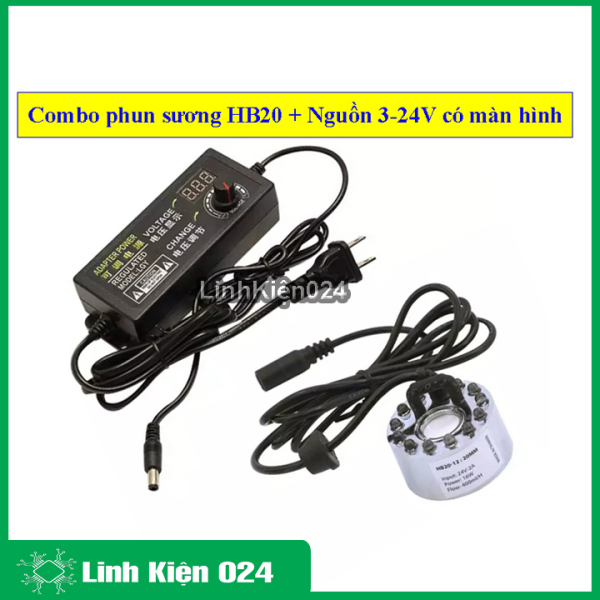 Bảng giá Combo phun sương HB20 12 led và nguồn điều chỉnh điện áp 3-24V 2A có màn hình hiển thị ( điều chỉnh lượng sương )