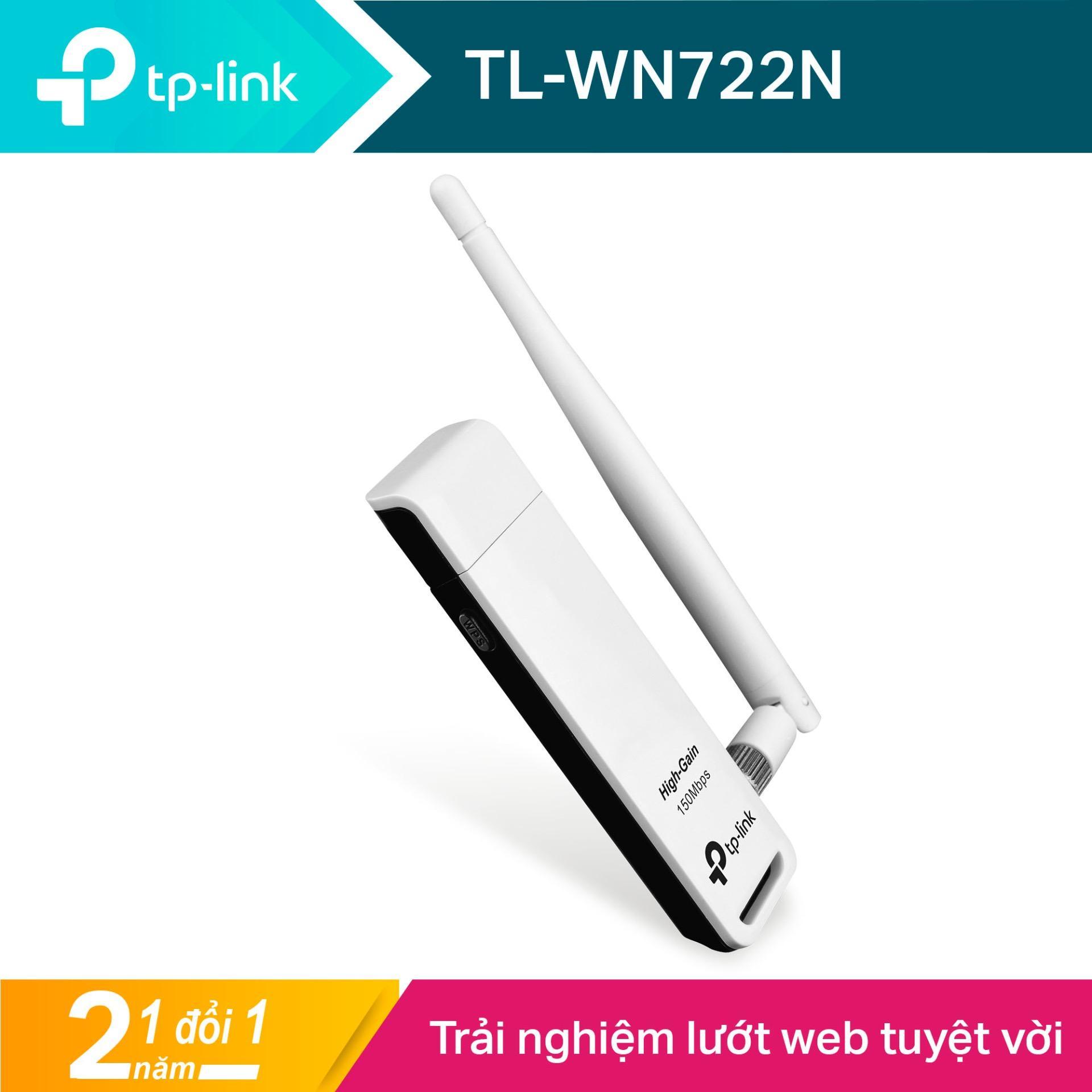 TP-Link USB wifi (USB thu wifi) Chuẩn N 150Mbps TL-WN722N - Hãng phân phối chính thức