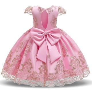 NNJXD Váy ren hoa cho bé gái Váy công chúa 0-10 tuổi Váy trẻ em sinh nhật Bữa tiệc trẻ em Quần áo thêu trẻ em hở lưng Áo cưới