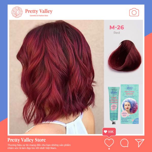 Kem nhuộm tóc cao cấp màu đỏ Molokai 60ml [ TẶNG KÈM GĂNG TAY + CHAI OXY TRỢ DƯỠNG TÓC ]