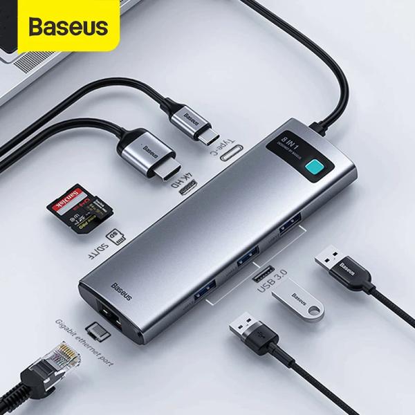 Bảng giá Cổng chuyển đổi Baseus Metal Gleam Hub Type C 8-IN-1 hỗ trợ mở rộng 4K HD + 3 * USB3.0 + SD + TF + RJ45 + PD cho điện thoại và máy tính Phong Vũ
