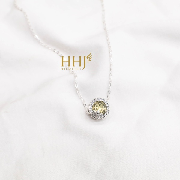 Dây chuyền charm đá vàng viền đá - HHJ - Bạc S95