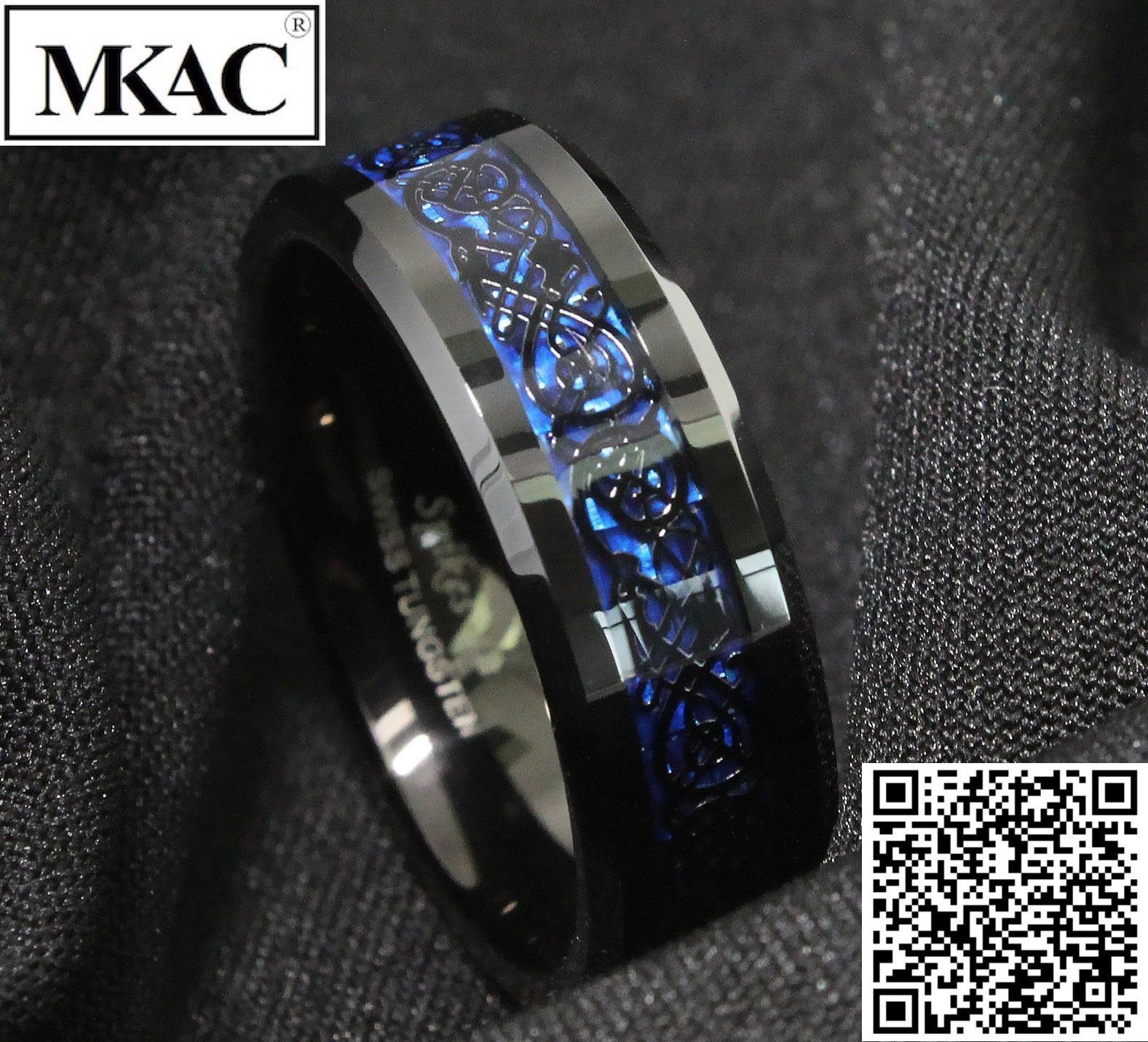 Nhẫn nam titan đá xanh cực đẹp - MKAC Nhật Bản