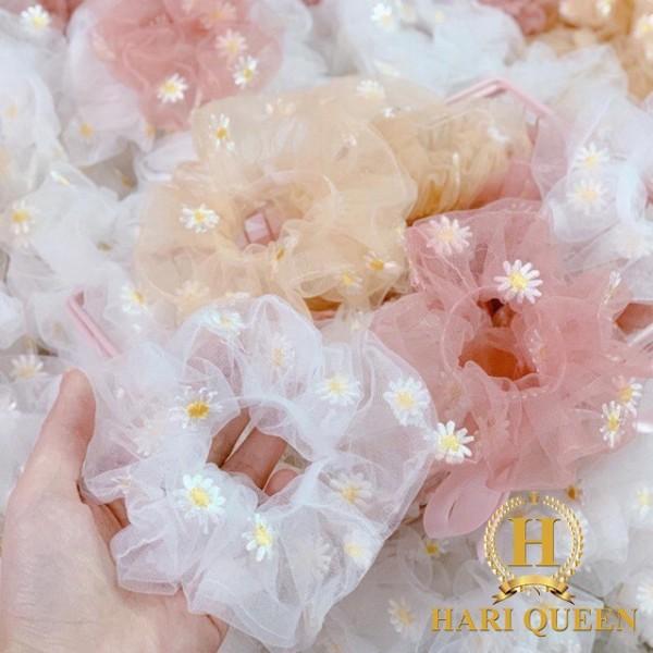 Dây buộc tóc Scrunchies hoa cúc HARI0720