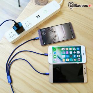 (SALE) Bộ dây cáp sạc 3 đầu Micro-USB, USB-Type-C, và Lightning , Sạc Nhanh Quick Charge Cho Mọi Thiết Bị Di Động Android và Iphone , Tự Động Ngắt Khi Sạc Đầy , Bảo Hành 6 Tháng thumbnail