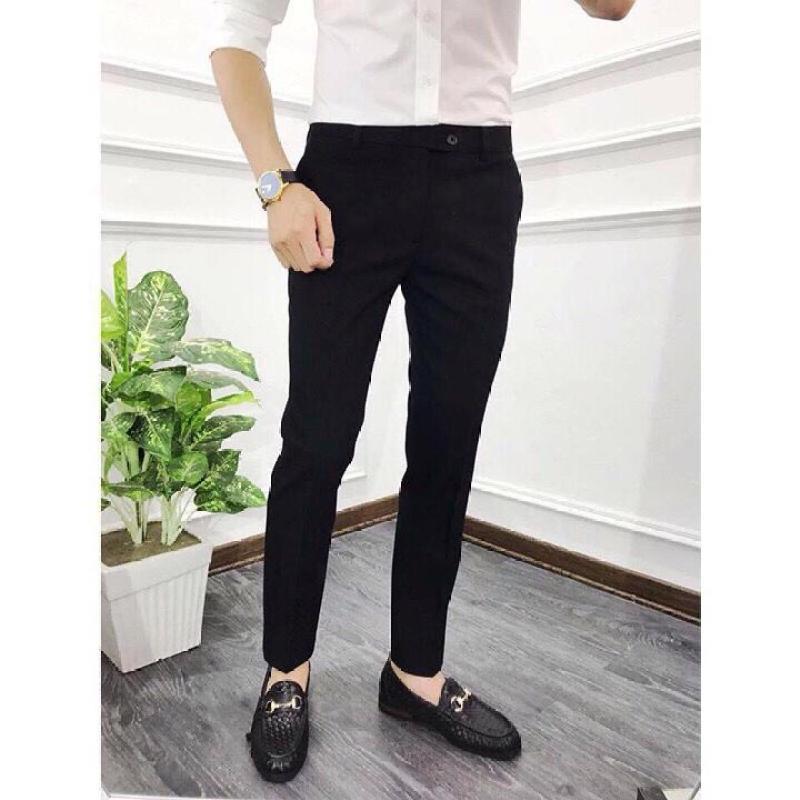 Quần âu nam Hàn Quốc, quần tây nam đen dáng ôm vải co giãn không nhăn Cao Cấp, thiết kế đơn giản dễ phối trang phục, ảnh thật 100%