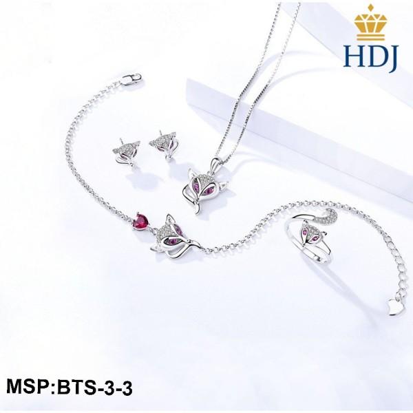 Combo dây chuyền khuyên tai,lắc tay và nhẫn bạc Ý 925 Hình Hồ ly may mắn sang trọng trang sức cao cấp HDJ mã BTS-3-3