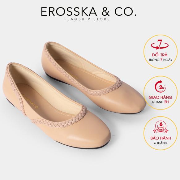 Giày búp bê Erosska thời trang mũi vuông phối dây đan chéo phong cách trẻ trung EF009 (NU) giá rẻ