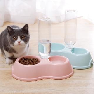Bát ăn đôi kèm bình nước tự động cho chó mèo thumbnail