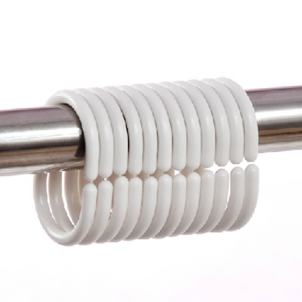 Set 12 móc treo hình chữ C - Móc treo rèm cửa nhà tắm bằng nhựa màu trắng (5,5x4x0,5cm)