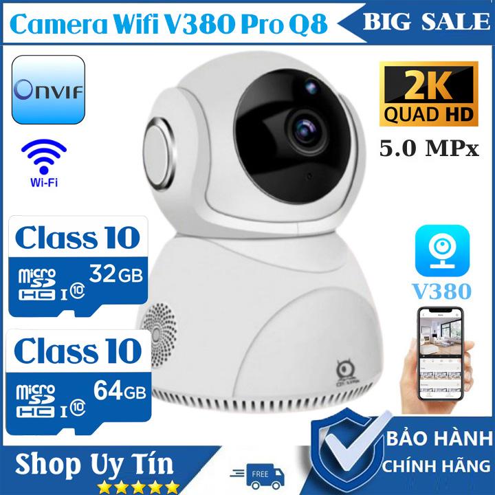 (Bảo Hành 5 Năm, Kèm Thẻ 64GB)Camera Ip Wifi không dây xoay 360 độ V380 Pro Q8,Siêu nét 2560 x 1440P, ghi âm , ghi hình, đàm thoại 2 chiều,Cảnh báo,camera trong nhà, camera ngoài trời