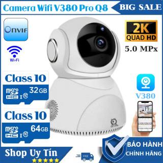 (Bảo Hành 5 Năm, Kèm Thẻ 64GB)Camera Ip Wifi không dây xoay 360 độ V380 Pro Q8,Siêu nét 2560 x 1440P, ghi âm , ghi hình, đàm thoại 2 chiều,Cảnh báo,camera trong nhà, camera ngoài trời thumbnail