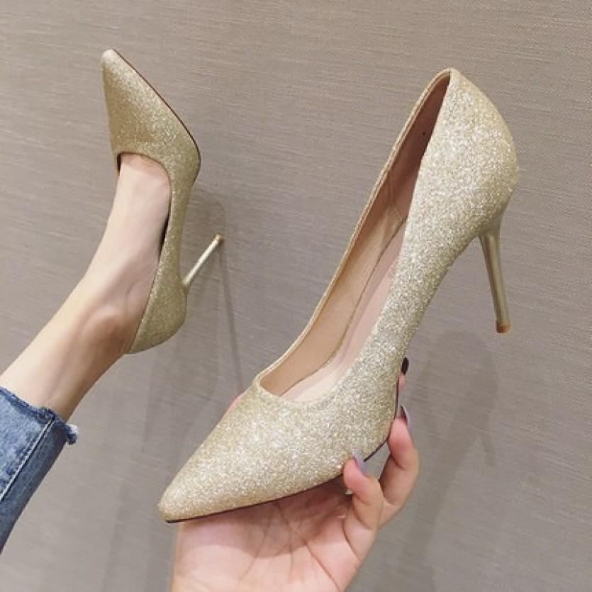 Giày búp bê cao gót nhũ kim tuyến 9p CG-0292 rosa giá rẻ