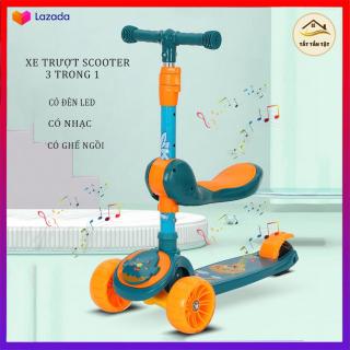 Xe Trượt Scooter, Xe tròi chân Scooter , có ghế ngồi, có nhạc, có đèn led 3 Trong 1, Cho Bé Từ 3 - 8 Tuổi , Đồ Chơi hoạt động ngoài trời cho bé thumbnail