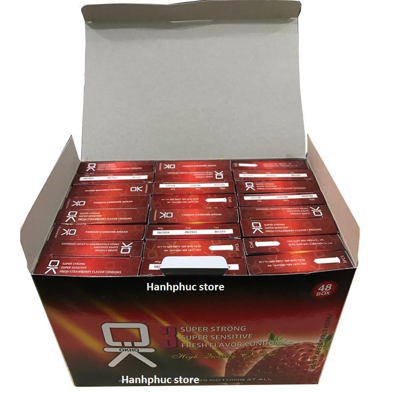 Bộ 1 hộp lớn Bao cao su OK hương Dâu - Hương thơm quyến rũ (144c) màu sắc tự nhiên, gel bôi trơn mượt mà