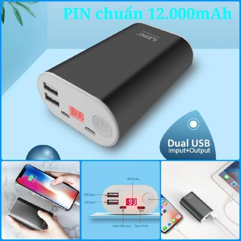 Giá Pin sạc dự phòng Cao Cấp 12000mAh - LCD hiển thị dung lượng [lõi pin công nghiệp ô tô - sạc nhanh]