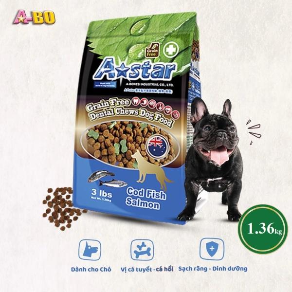Thức ăn cho chó A-Star 1.36kg Cao Cấp Vị Cá Hồi và Cá Tuyết bổ sung dinh dưỡng cho chó, thức ăn hạt cho chó giúp tăng sức đề kháng, có xương gặm sạch răng độc quyền