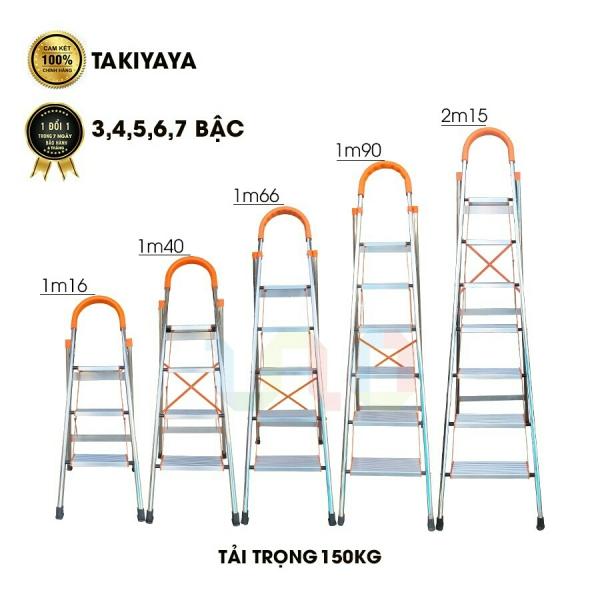 Thang nhôm ghế tay vịn khung inox TAKIYAYA 6 bậc - BH 6 tháng - chính hãng