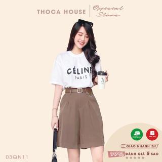Quần short lửng ống rộng kèm thắt lưng kiểu xích THOCA HOUSE dễ phối trang phục, phong cách trẻ trung, năng động thumbnail
