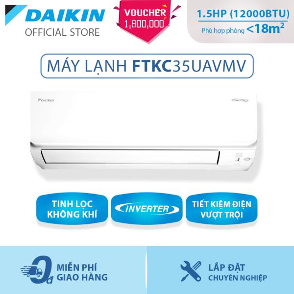 Bảng giá Máy Lạnh Daikin Inverter Sang trọng FTKC35UAVMV - 1.5HP (12000BTU) Tiết kiệm điện vượt trội - Luồng gió Coanda - Tinh lọc không khí - Khử ẩm 25% - Độ bền cao - Chống ẩm mốc - Chống ăn mòn - Làm lạnh nhanh - Hàng chính hãng