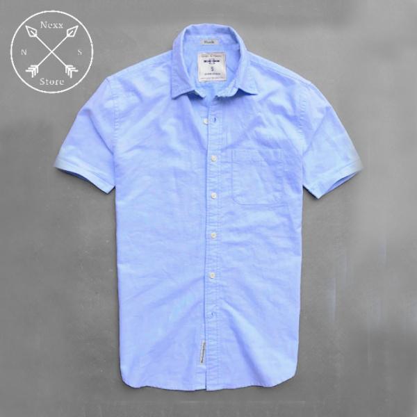 Áo sơ mi nam ngắn tay màu trắng eagel regular fit chất liệu oxford 100% cotton