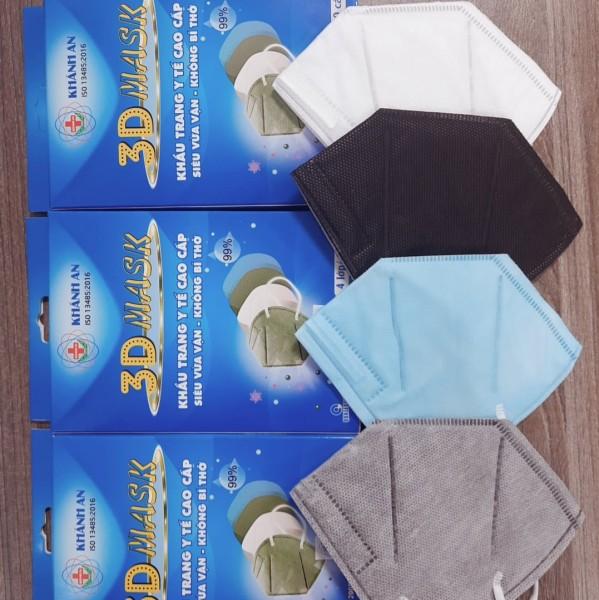 Khẩu trang y tế 4 lớp 3D MASK Khánh An kháng khuẩn cao cấp hộp 10 chiếc siêu vừa vặn, Không bí thở cao cấp