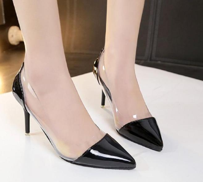 Giày cao gót bít mũi trong dori (Đen) giá rẻ