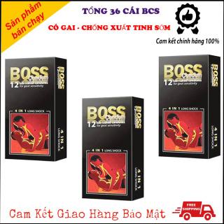 [FREE SHIP 20K ] [ COMBO 3 HỘP ] Bao Cao Su Boss Gân gai Kéo Dài Thời Gian [ Tổng 36 Cái ] thumbnail