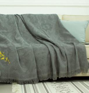 [HCM]Chăn thảm phủ ghế sofa đan len tua rua màu xám lưới thumbnail