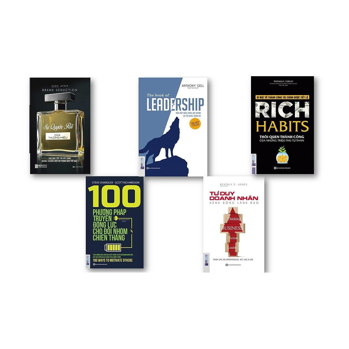 Mua Combo combo 5 cuốn sách : Leadership + Rich Habits thói quen thành công của những tự phú tự thân + Tư Duy Doanh Nhân Hành Động Lãnh Đạo + Sự Quyến Rũ Của Thương Hiệu + 100 Phương Pháp Truyền Động Lực Cho Đội nhóm chiến thắng