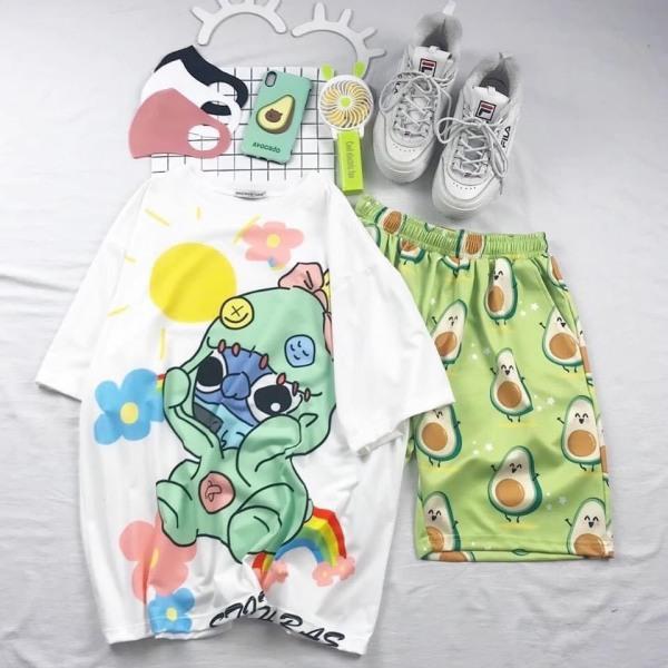 Sét bộ hoạt hình áo in + quần trái cây đi biển TTSLA0151