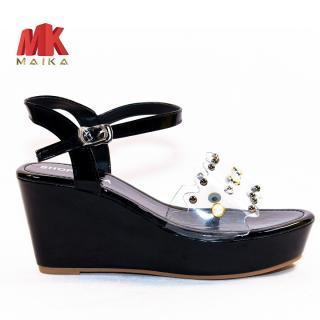 Xăng đan đế xuồng MK MAIKA quai ngang cao 8cm S142 Đen đế đúc, thời trang, trẻ trung, phù hợp đi học, đi chơi, đi làm – MK STORE