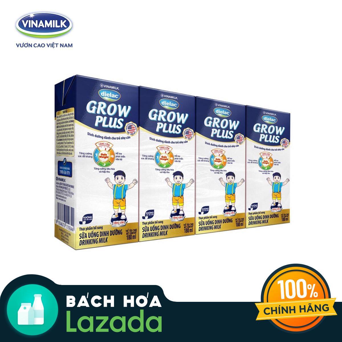 Lốc 4 Hộp Sữa Bột Pha Sẵn Dielac Grow Plus (Xanh) 180ml bonus