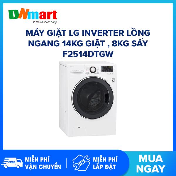 Bảng giá Máy giặt LG Inverter lồng ngang 14kg giặt , 8kg sấy F2514DTGW 1200 vòng/phút Truyền động trực tiếp bền & êm Điện máy Pico