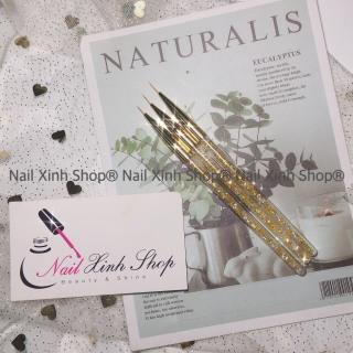 Set cọ vẽ gel, cọ vẽ móng tay nghệ thuật, nail art (1 bộ 3 cọ râu vẽ nét mỏng cán kim tuyến) thumbnail