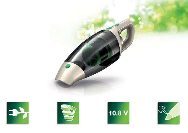 Máy hút bụi không dây Philips ECO FC6148/01 (không túi, pin Li-ion 10,8V, công suất hút 9 phút, 100 watt) màu xám