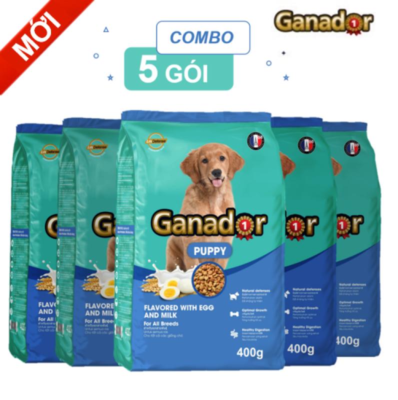 [Mới]Combo 5 gói Thức ăn cho chó con Ganador vị Trứng và Sữa Egg and Milk 400gram