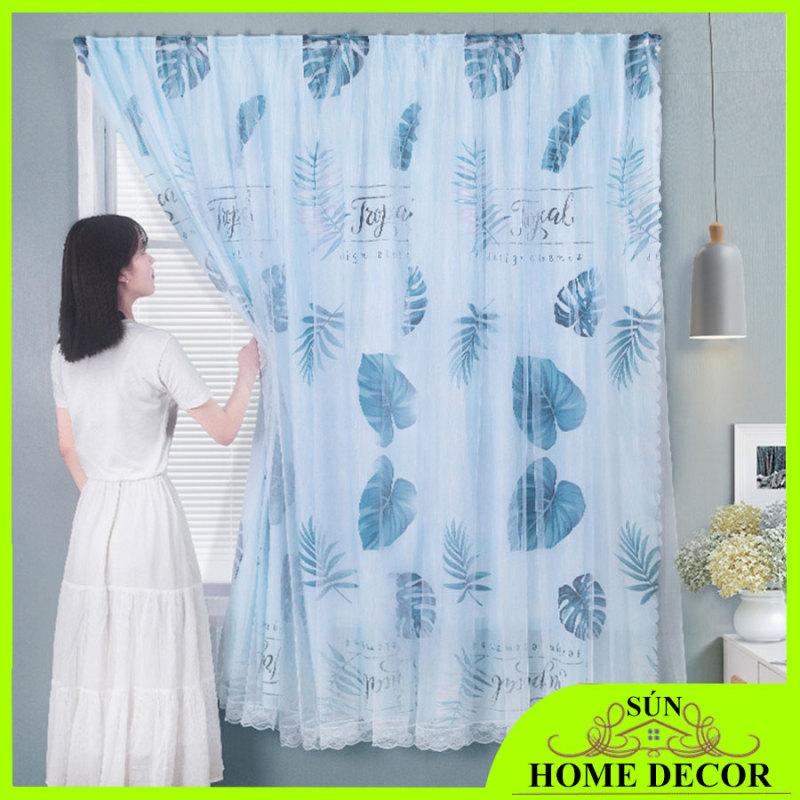 [CHỌN SIZE] Rèm cửa dán tường không cần khoan đục lỗ; Rèm che cửa sổ cho phòng khách, phòng ngủ phong cách Bắc Âu, rèm 2 lớp