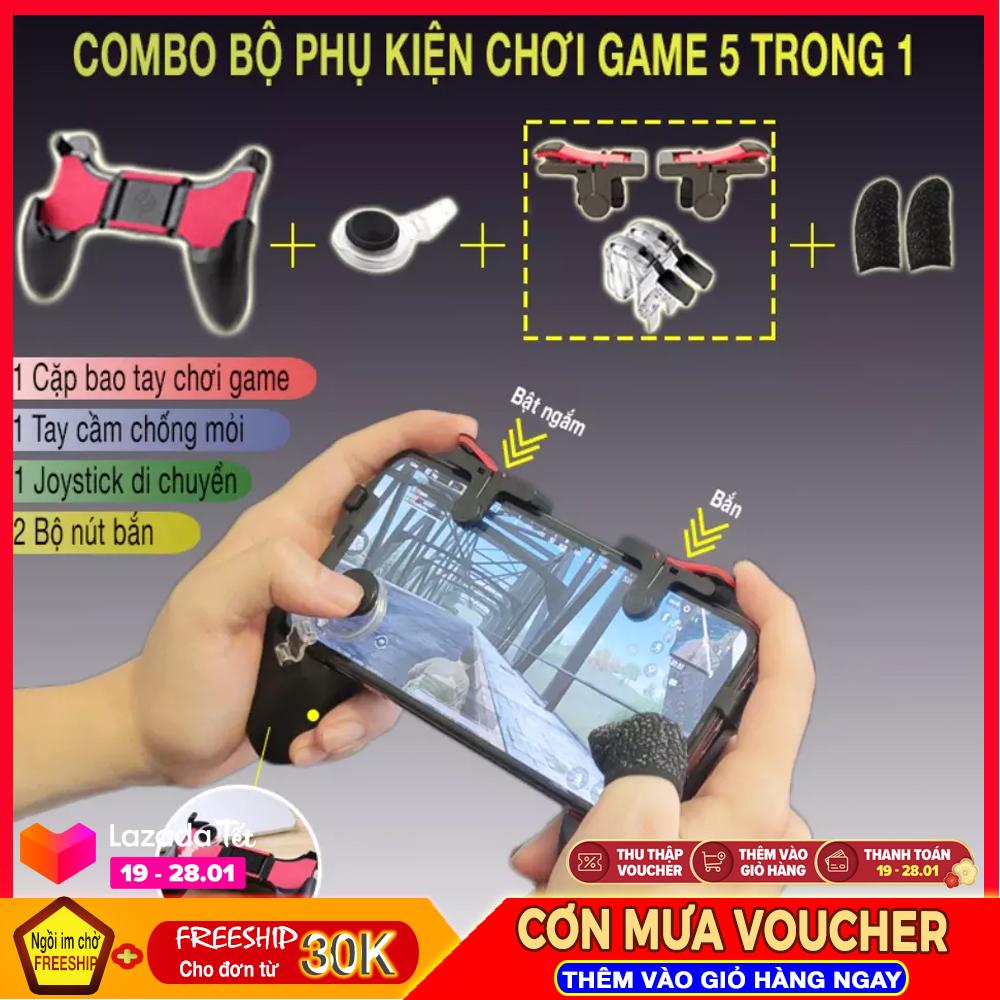 Combo 5in1 bộ phụ kiện chơi game Mobile Pugb Freefire Ros 1 tay cầm chơi game + 1 cặp bao tay chống mồ hôi + 2 bộ nút bắn + 1 joystick di chuyển