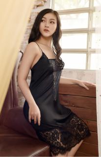 Váy Ngủ Lụa Cao Cấp Dreamy ,Váy Ngủ Nữ, Váy Ngủ Gợi Cảm, Váy Ngủ Sexy, Váy Ngủ Lụa Hai Dây, Đầm Ngủ Lụa Mặc Nhà phối ren gợi cảm màu đen,trắng,đỏ thumbnail