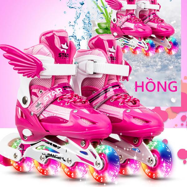 Mua giày trượt pa tanh trẻ em 1 hàng bánh đơn, giày trượt pa tanh nhấp nháy size M-L, giày pa tanh thời tranh cánh thiên thần Our shopping home