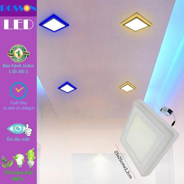 Đèn Led ốp trần vuông 24w ( 18w +6w) ốp nổi 2 màu 3 chế độ s trắng+viền s màu Posson LP-So18+6x