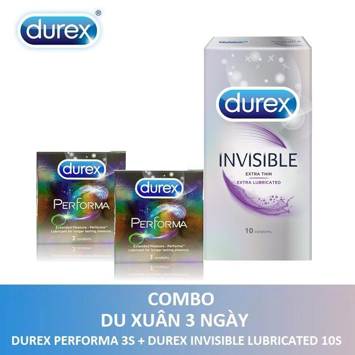 Bộ sản phẩm DUREX DU XUÂN 3 NGÀY ( 2 Hộp Bao cao su Durex Performa 3s + Durex Invisible Lubricated 10s ) - Hãng phân phối chính thức nhập khẩu