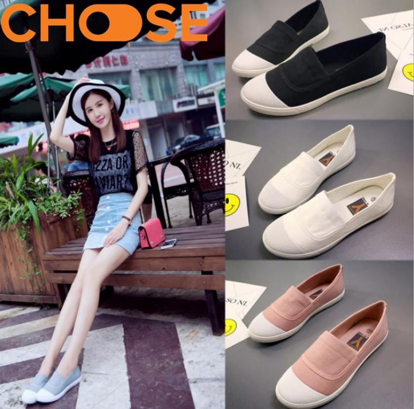 Giày Lười Nữ/Slip-On, Chất Liệu Vải Mềm Mại, Phong Cách Hot Girl Hàn Quốc 0101, Kiểu Dáng Trẻ Trung Thanh Lịch giá rẻ
