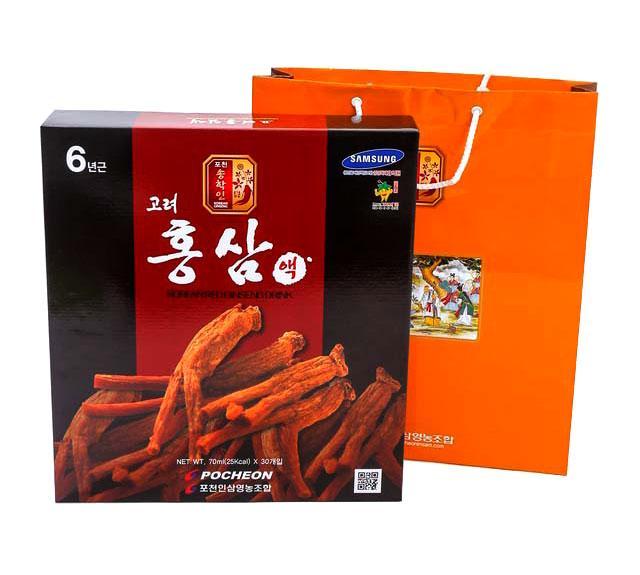 Nước hồng sâm Hàn Quốc Pocheon (hộp 30 gói x 70ml) nhập khẩu